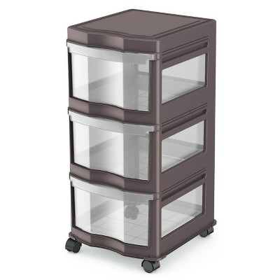 Life Story Classic Gray 3 Shelf Home Storage Container Organizer Plastic Drawers with Wheels for Closet, Dorm, or Office