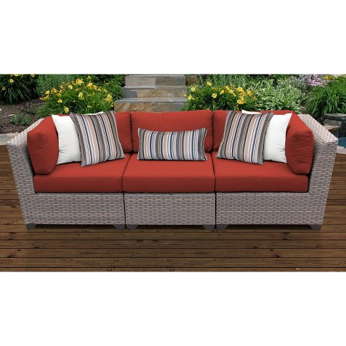 Florence 3pc Outdoor Sectional Sofa, For Living 3 Piece Wicker Patio Sectional Set With Cushions