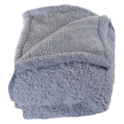 Gray Solid Fleece Sherpa Backed Throw (50 X60 )- Yorkshire Home