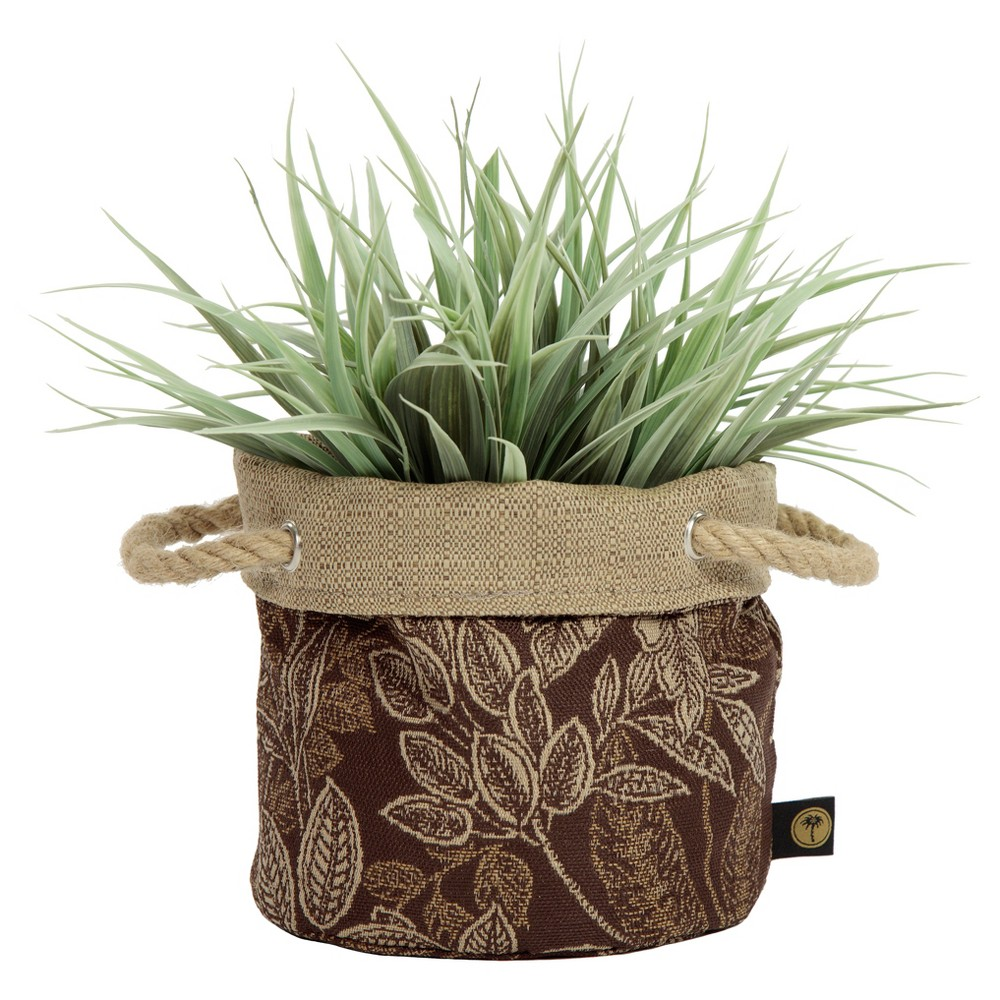 Image of 6 Nahla Fabric Floor Planter In Palmetto Espresso - Brown - Bombay Outdoors