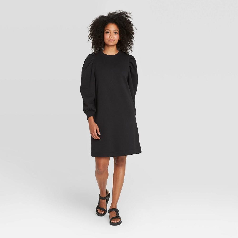60s 70s Plus Size Dresses, Clothing, Costumes Womens Puff Long Sleeve Sweatshirt Dress - Prologue Black XXL $32.99 AT vintagedancer.com