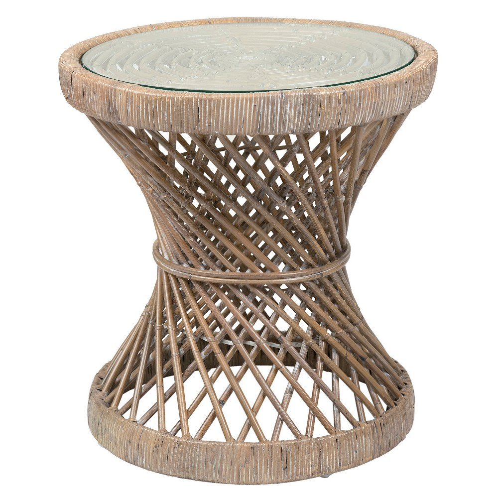 Shively Rattan Accent Table Brown - East At Main