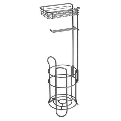 mDesign Metal Toilet Paper Holder Stand/Dispenser, Shelf, 3 Rolls