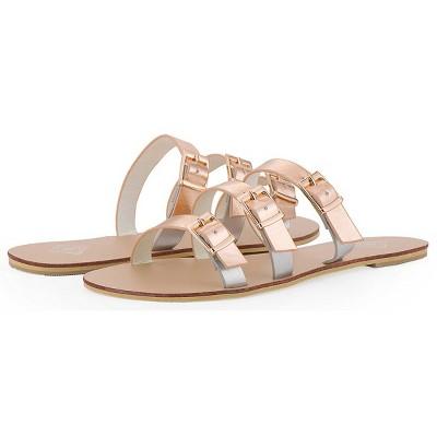 Gallery Seven - Women's Tri-Strap Buckle Slide  Sandal
