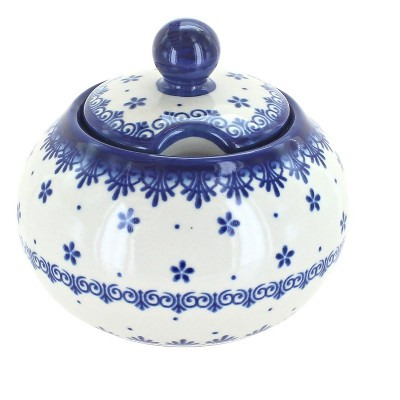 Blue Rose Polish Pottery Medallion Large Sugar Bowl