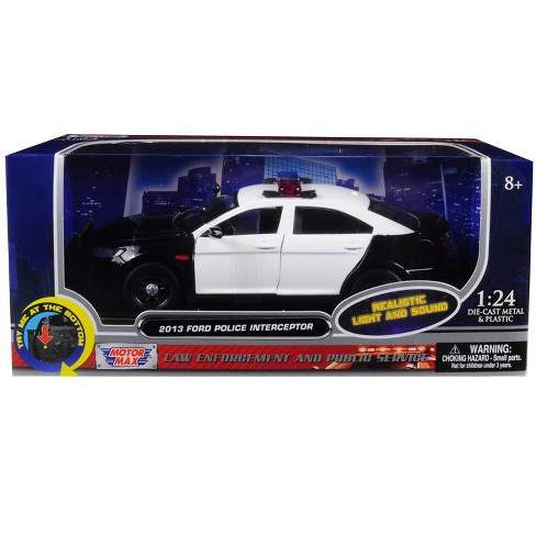 2013 Ford Police Interceptor with Flashing Lights and Two Sounds Black and White 1/24 Diecast Model Car  by Motormax - image 1 of 1