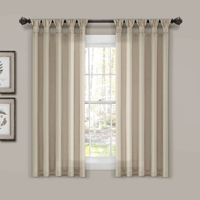 Burlap Knotted Tab Top Light Filtering Window Curtain Panels - Lush Décor