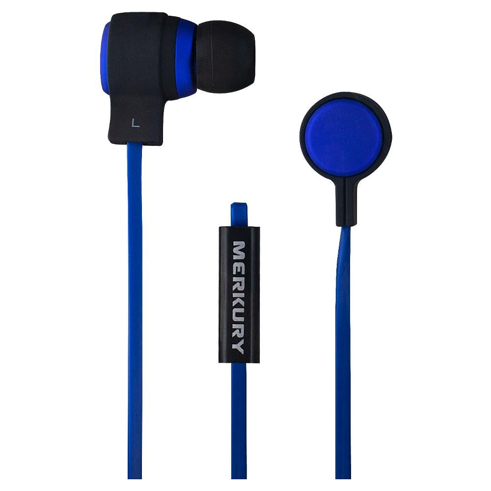 Merkury Aeon Matte Metallic Wired Earbuds with Mic - Blue
