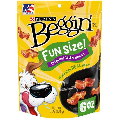Purina Beggin'  Small Breed Chewy Dog Treats Littles Original with Bacon - 6oz Pouch