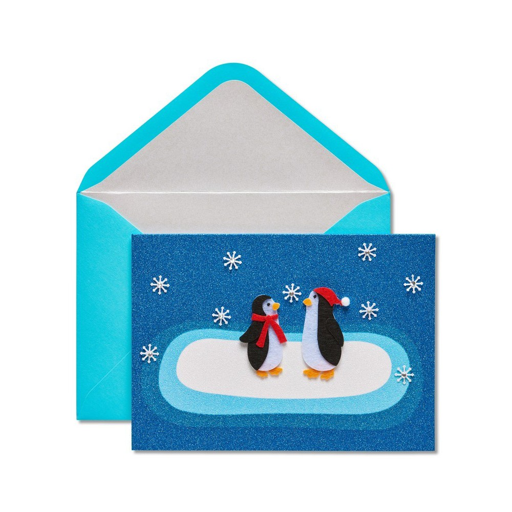 Papyrus Two Felt Penguins And Snowflakes Greeting Card, Multi-Colored