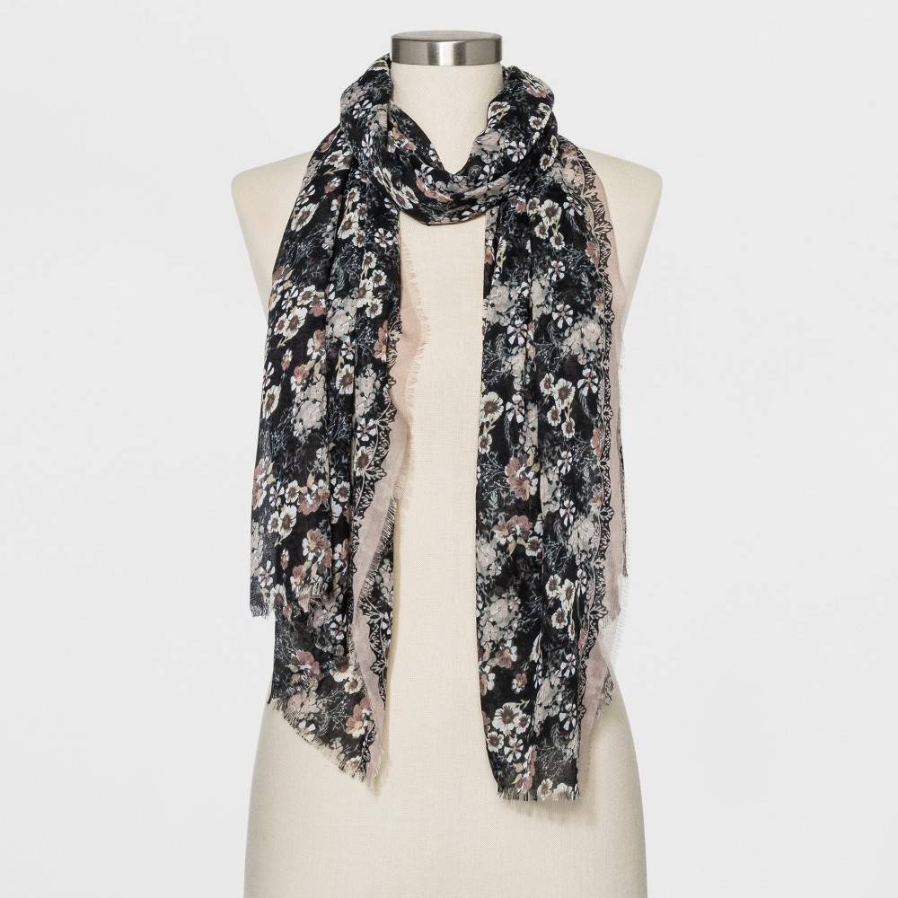 Collection Xiix Women's Floral Print Oblong Scarf - Black