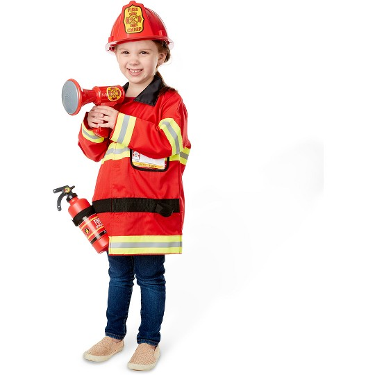 Melissa & Doug Fire Chief Role Play Costume Dress-Up Set (6pc), Adult Unisex, Size: Small, Red image number null