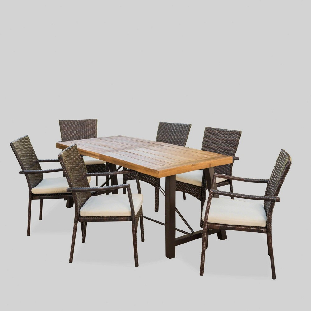 Laguna 7pc Acacia Wood/Wicker Patio Dining Set - Brown/Cream (Brown/Ivory) - Christopher Knight Home