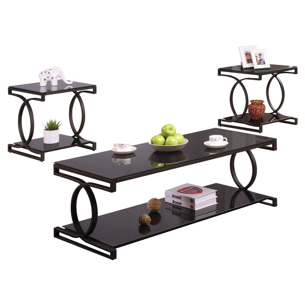 Image of 3 Piece Occasional Table Set Black - Acme
