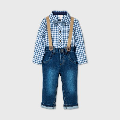 Baby Boys' Gingham 'Little Man' Denim Suspender Top & Bottom Set with Bowtie - Cat & Jack™ Blue 6-9M