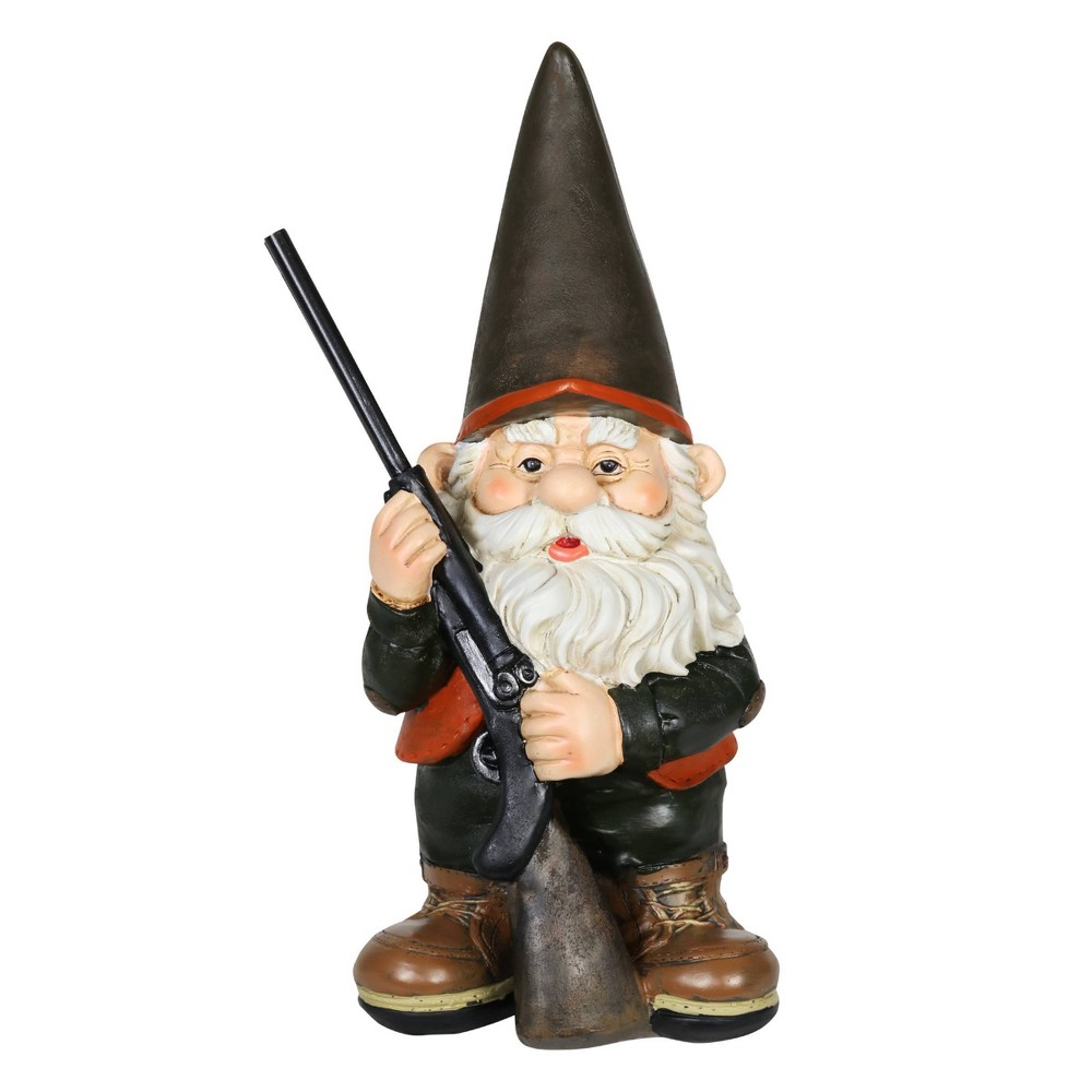 13 39 34 Resin Hunting Harry Garden Gnome Brown Exhart