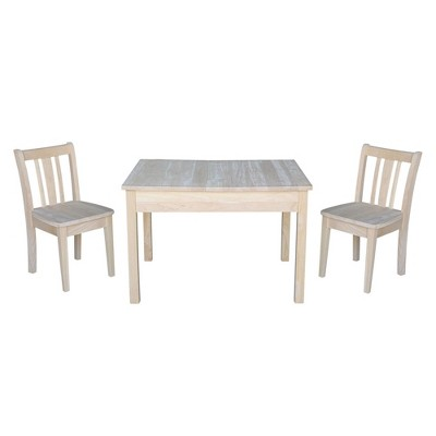 Kids' Storage Table with 2 San Remo Juvenile Chairs Unfinished - International Concepts