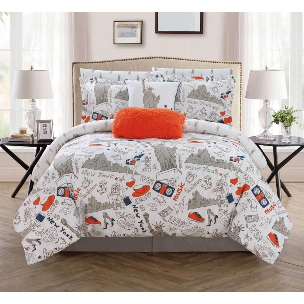 Chic Home Design Full 9pc Ellis Bed In A Bag Comforter Set Navy (Blue)