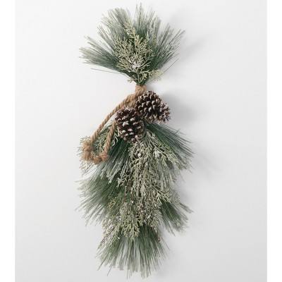 """Sullivans Artificial Ice Pine and Cedar Wall Swag 30""""H Green"""