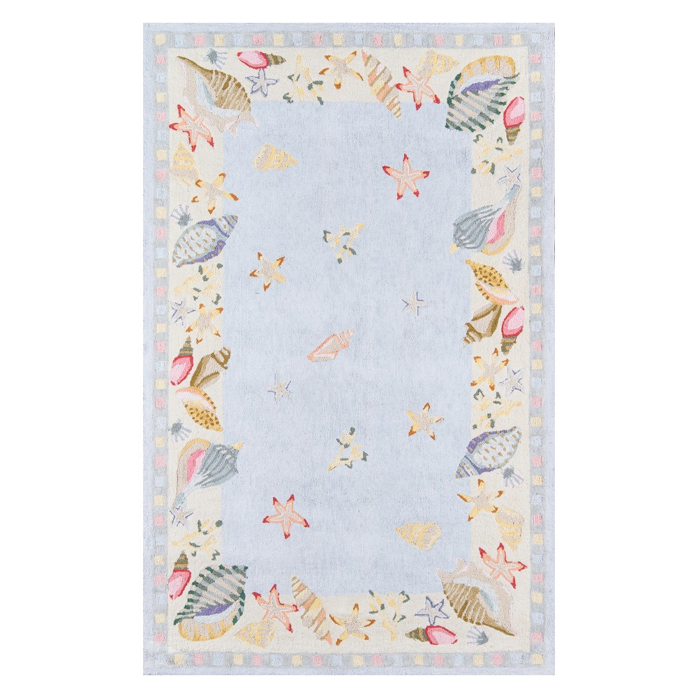 8'X11' Seashell Hooked Area Rug Light Blue - Momeni