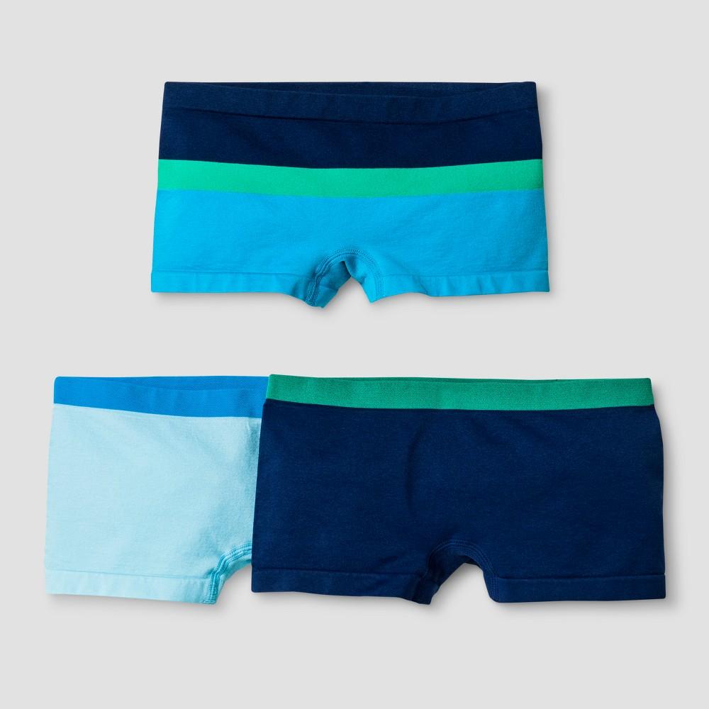 Girls' 3pk Boy Shorts - Cat & Jack Blue - M