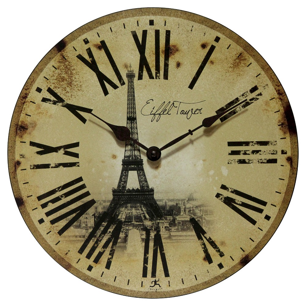 Image of Eiffel Tower Decorative Wall Clock Vintage Beige - Infinity Instruments
