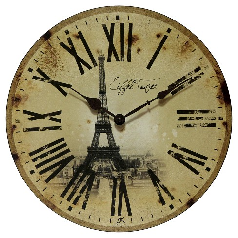 Eiffel Tower Decorative Wall Clock Vintage Beige - Infinity Instruments® - image 1 of 3