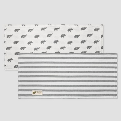 Layette by Monica + Andy Baby 2pk Organic Cotton Striped and Elephant Print Burp Cloth Set - Gray