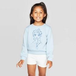 Toddler Girls' Frozen Elsa Fleece Crew neck Sweatshirt - Light Blue