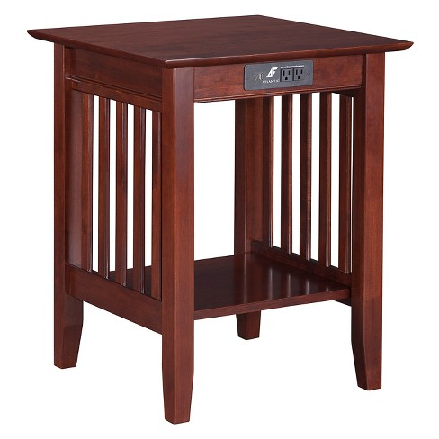 Printer Stand Classic Mission USB Charger Walnut - Atlantic Furniture - image 1 of 3