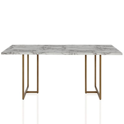 Edith Rectangular Faux Marble Dining Table White Gold Cosmoliving By Cosmopolitan Target
