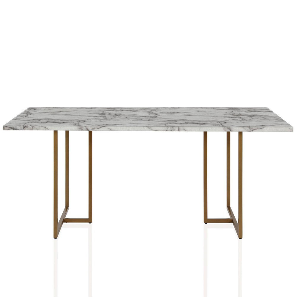 Must Have Edith Rectangular Faux Marble Dining Table White Gold Cosmoliving By Cosmopolitan From Cosmoliving By Cosmopolitan Ibt Shop
