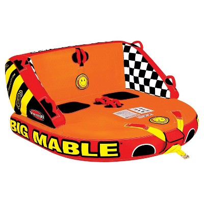 SportsStuff Inflatable Big Mable Sitting Double Rider Towable Boat and Lake Tube with Multiple Grab Handles, Knuckle Guards, and Speed Safety Valve