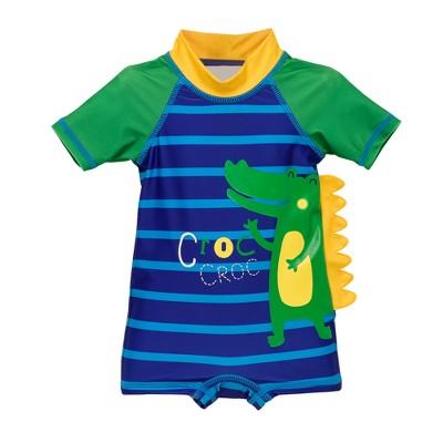 Wetsuit Club Baby Boys' Crocodile One Piece Rash Guard - Blue 3M
