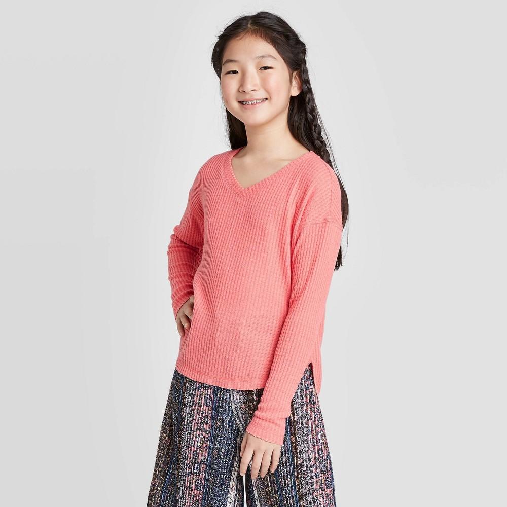 Image of Girls' Long Sleeve Waffle Knit Top - art class Orange L, Girl's, Size: Large