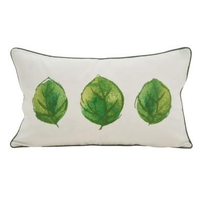 Saro Lifestyle 12 x20  Leafy Trio Accent Down Filled Throw Pillow Green