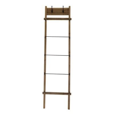 """76"""" Wood/Metal Ladder Brown - Sagebrook Home"""