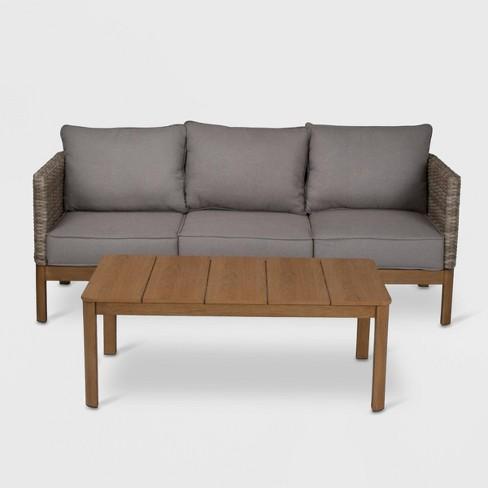 Cosco 2pc Deep Seating Wicker Patio Sofa and Coffee Table - Tan - image 1 of 4