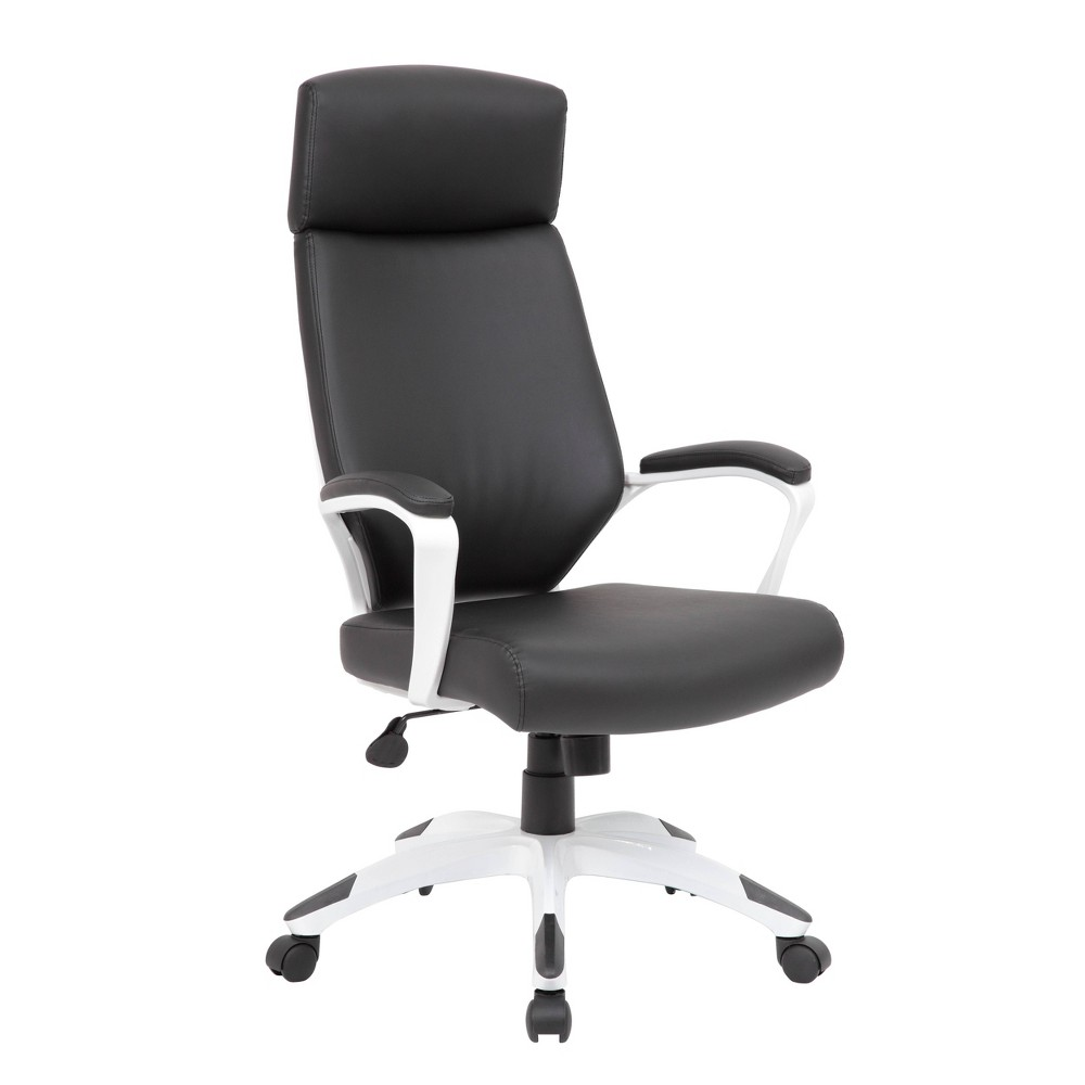 The white and black trooper chair offers a modern look with supreme comfortability. The chair is made with CaressoftPlus, which is a trademarked vinyl that is ultra-soft, breathable upholstery that looks and feels like leather, but is more durable and easy to clean. The chair is also designed with a sturdy 27 inch nylon base with black caps and 2 inch nylon dual wheel castors. The chair also offers a spring tilt mechanism, a pneumatic gas lift for easy height adjustability, tilt tension and an upright lock. Gender: unisex.