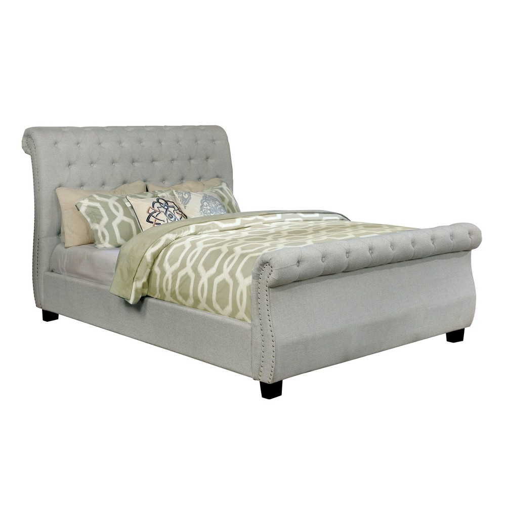 Gwen Upholstered Sleigh Bed Light Gray ioHOMES