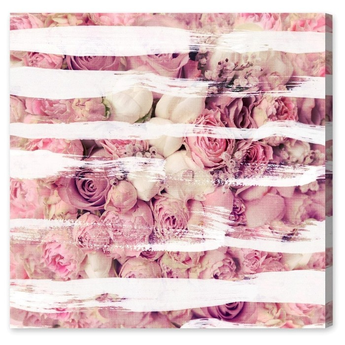 """Oliver Gal Unframed Wall """"Rose Strokes"""" Canvas Art (20x20) - image 1 of 2"""
