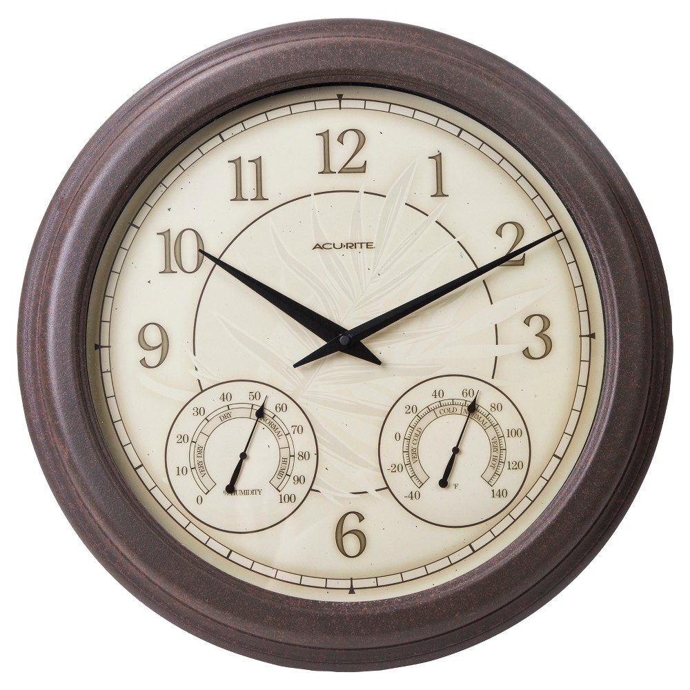 Image of 18 Outdoor / Indoor Wall Clock with Thermometer and Humidity - Weathered Finish - Acurite, Brown