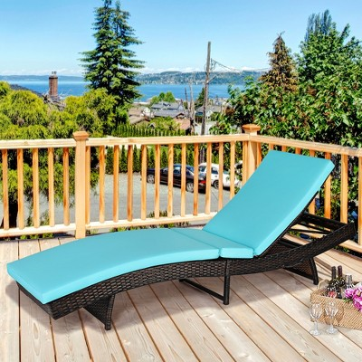 Costway Patio Rattan Folding Lounge Chair Chaise Adjustable W/White\Turquoise Cushion