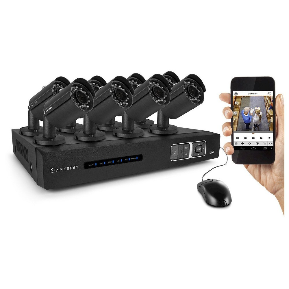 Amcrest 720P Tribrid Hdcvi 8CH 2TB Dvr Security Camera System with 8 x 1MP Bullet Cameras - Black (AMDV7208M-8B-B) Includes 8 x HD 1MP cameras capable of generating crystal clear 1280 x 720 pixels (1 Megapixel) video. Pre-installed 3 TB hard-drive records continuously for 15 days (360 hours in 720p @ 30fps) or much longer using motion detection or scheduled recording. IP66 rated weather resistant cameras for both indoor and outdoor use. 1,640ft (500m) point-to-point transmission distance from camera to Dvr. Includes 4 x 60ft and 4 x 100ft Siamese cables. Remote view via the  Amcrest View  app found on the Apple Store or Google Play Store. Remote view on standard browsers via PC and Mac. Amcrest Hdcvi technology transmits HD video over coaxial at a rate of 720p @ 30fps, allowing for long-distance and cost-effective HD video transmission up to 1,640ft (500m). The signal is transmitted uncompressed which eliminates latency and allows for real-time, highly reliable video security without loss or delay. The cameras connect point-to-point directly to the Dvr providing a highly secure closed network as well as a painless and non-complex plug-and-play setup process. In addition, system is smartphone compatible (iPhone, Android) as well as viewable over the internet using standard web-browsers on PC and Mac. This is a tribrid system which is backwards compatible with 960H and traditional analog cameras as well as IP cameras.