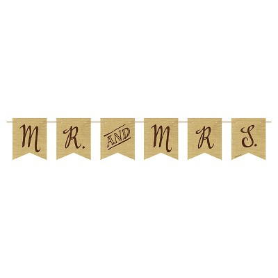 Rustic Wedding Mr. and Mrs Burlap Pennant Banner, each
