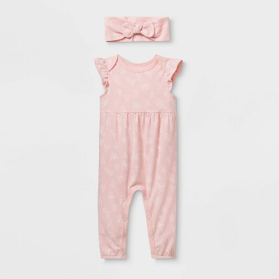 Baby Girls' Ruffle Sleeve Romper with Headband - Cat & Jack™ Pink 0-3M