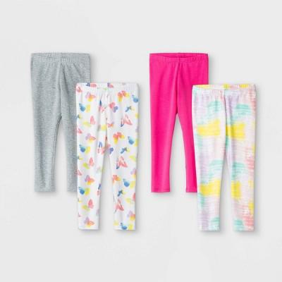 Toddler Girls' 4pk Butterfly Tie-Dye Leggings - Cat & Jack™ Pink/Gray