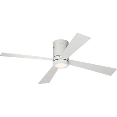 "52"" Casa Vieja Modern Hugger Ceiling Fan with Light LED Flush Mount Remote Control Opal White for Living Room Kitchen Bedroom"