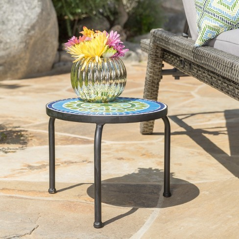 Iris Ceramic Tile Side Table Blue Green Christopher Knight Home Target