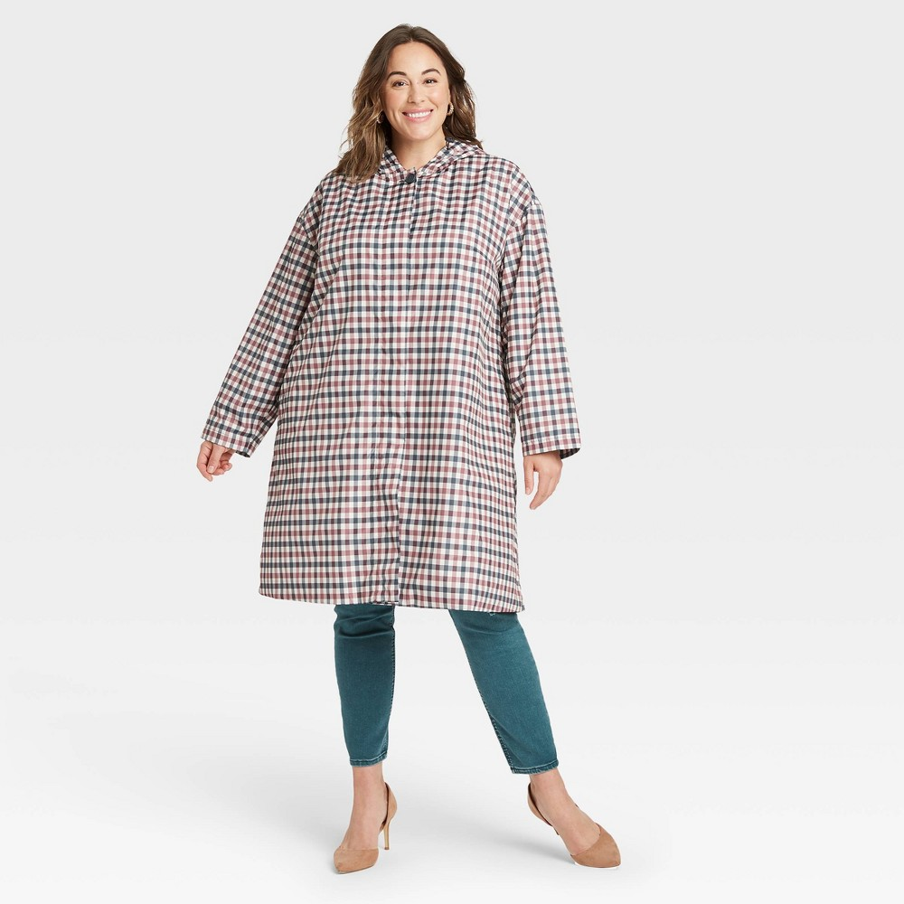 1950s Coats and Jackets History Womens Plus Size Rain Coat - Ava  Viv Stucco Plaid 4X MultiColored $40.00 AT vintagedancer.com